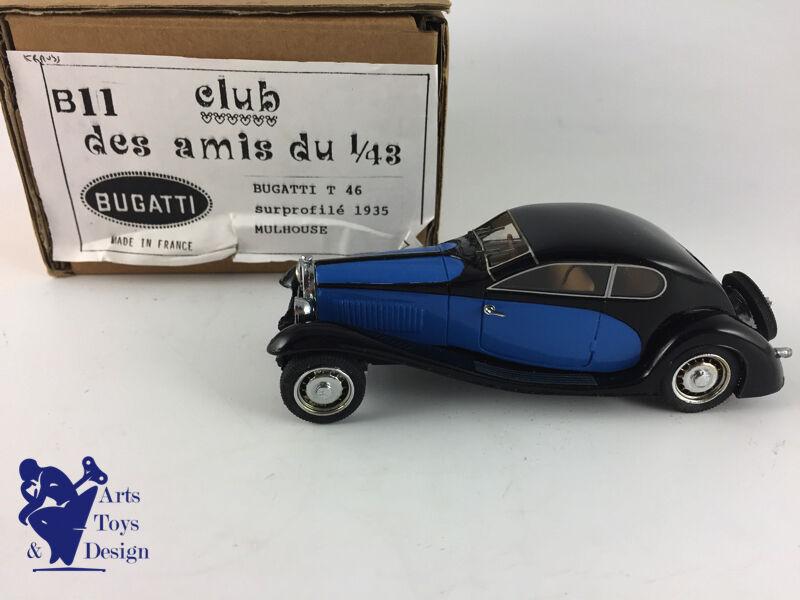 CLUB AMIS DU 1 43 B11 BUGATTI T 46 SURPROFILE 1935 MULHOUSE NOIR ET BLEU NO MCM