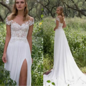 Western country wedding dress formal bridal gown beach for Boho country wedding dress