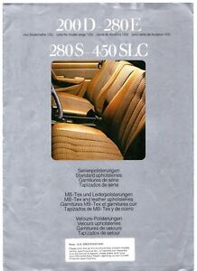Mercedes-Benz Interior Trims 1975-76 UK Market Foldout Brochure W123 S-Class SL