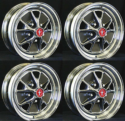 """Ford Mustang Styled Steel GT Wheels 14"""" x 7"""" Set of 4 Complete Caps, Nuts Mocha"""