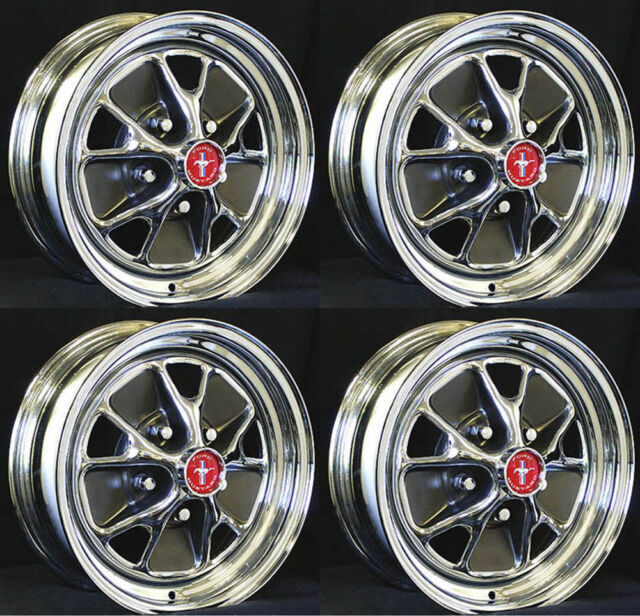 "Ford Mustang Styled Steel GT Wheels 14"" x 7"" Set of 4 Complete with Caps & Nuts"