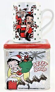 1992 Vandor Betty Boop Christmas Mug Cup Santa King Feature Syndication & Tin