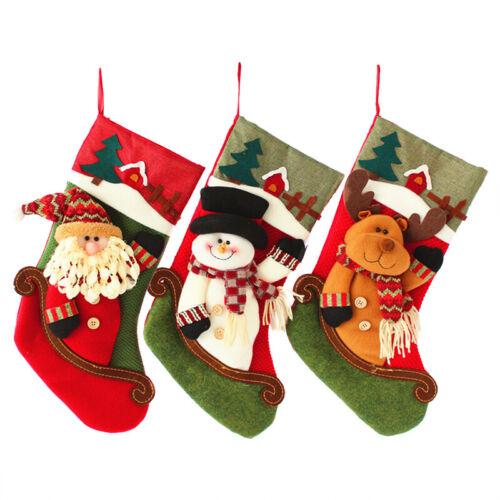 "18/"" Cute Christmas Stocking 3D Santa Snowman Reindeer Xmas Gift Bag Ornaments"