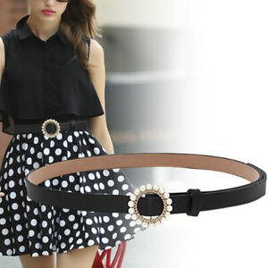 Women-Girls-Faux-Leather-Belt-Round-Ring-Pearl-Buckle-Waistband-WR