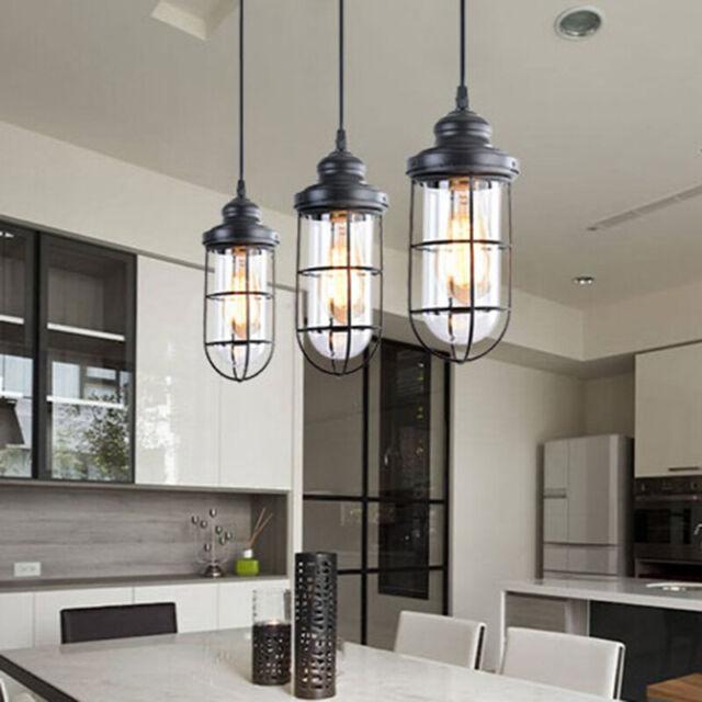 Industrial Glass Pendant Lights Modern 3-light Kitchen Island Lighting  Fixture
