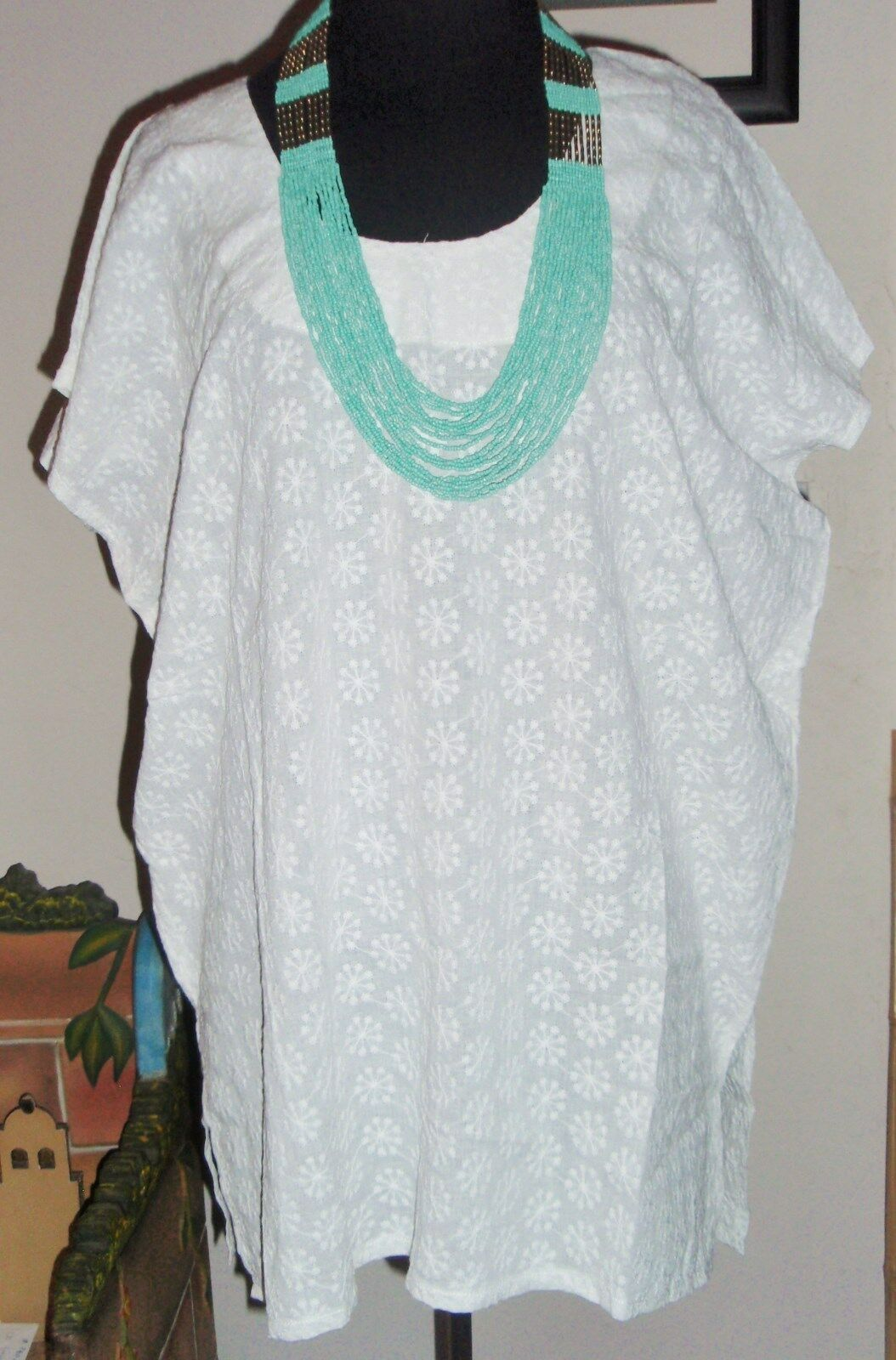 YUCATEC MEXICAN EMBROIDERED TUNIC HUIPIL MANTA BOHO 100 % IRELAND COTTON GENUINE