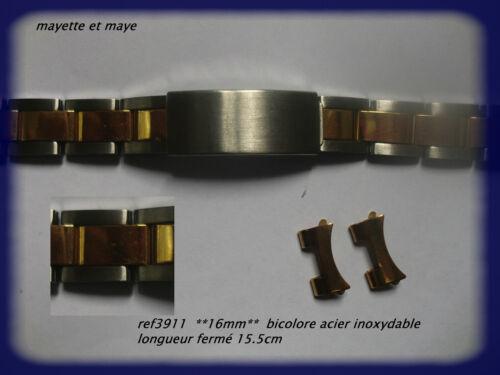 BRACELET MONTRE acier inoxydable **** 14mm***  bicolore ref 3911
