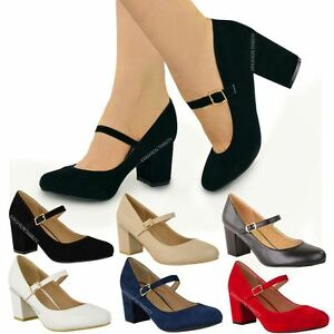 Image is loading WOMENS-LADIES-MID-BLOCK-HEEL-MARY-JANE-OFFICE-