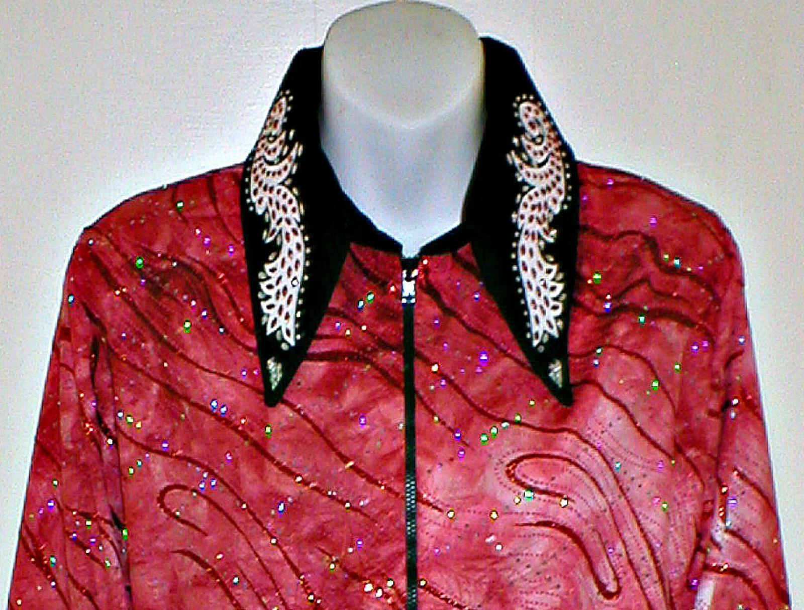 Talla Grande Rojo y negro Cocheril occidental, placer, Rodeo, Trail, & Glamour Camisa