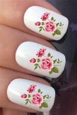 WATER NAIL TRANSFERS PINK COUNTRY GARDEN ROSES TATTOO DECALS STICKERS *610