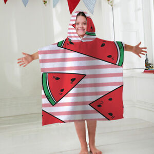 812a96159d Image is loading Kids-Hooded-Towel-Poncho-Watermelon -Design-Childrens-Bathrobe-