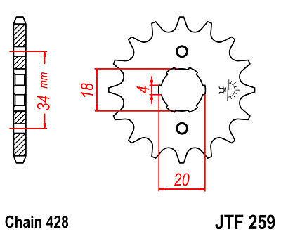 428 division sym xs 125 K md12b2-e 2009 Pignon 19 Dents