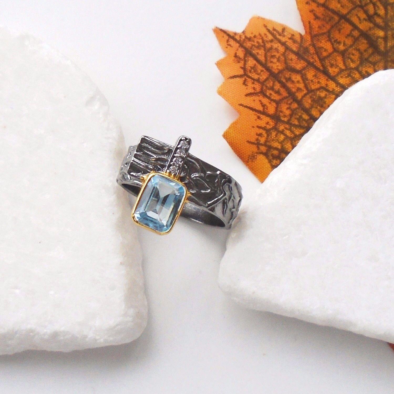 bluetopas blue gold black rhodiniert Ring Ø 18,75 mm 925 Sterling silver neu