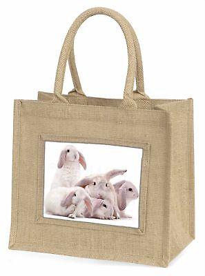 hübsch weiß Kaninchen Große natürliche jute-einkaufstasche Weihnachten