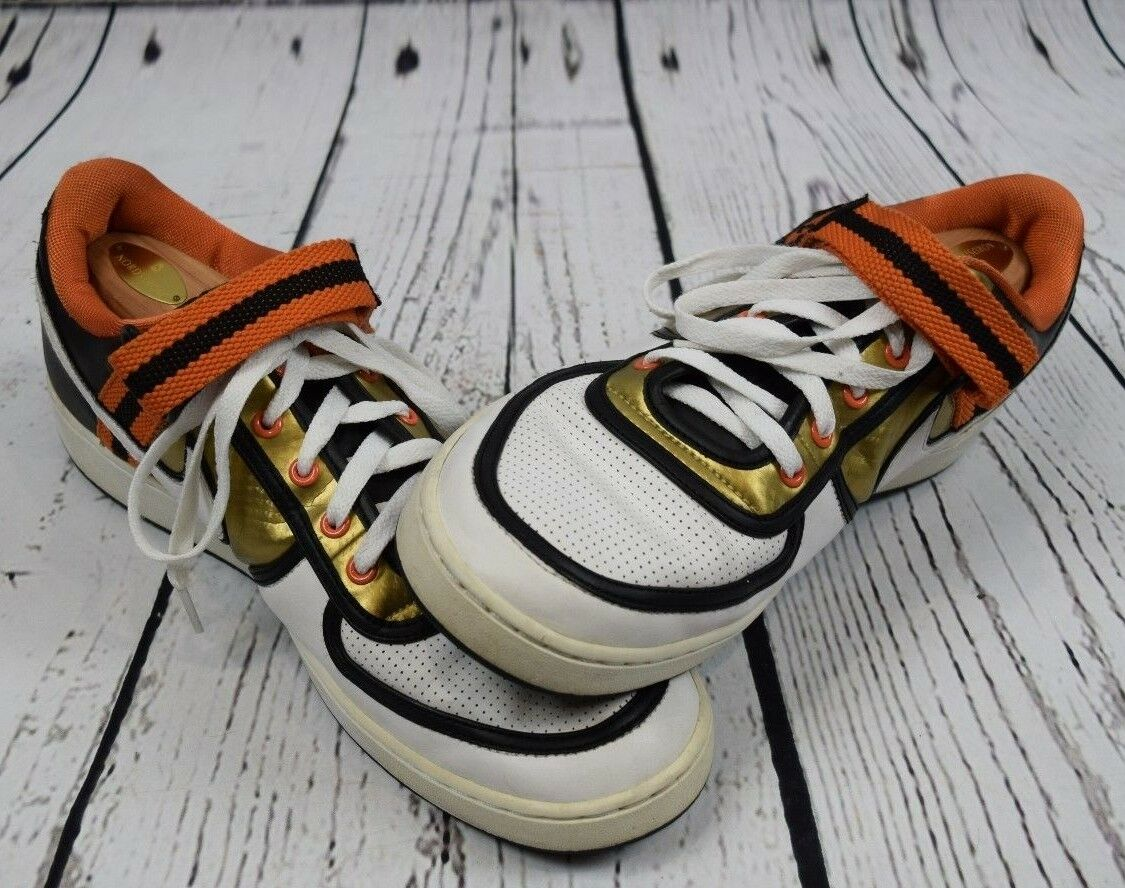 Wild casual shoes Nike Leather White Gold Black Orange Mens US Comfortable