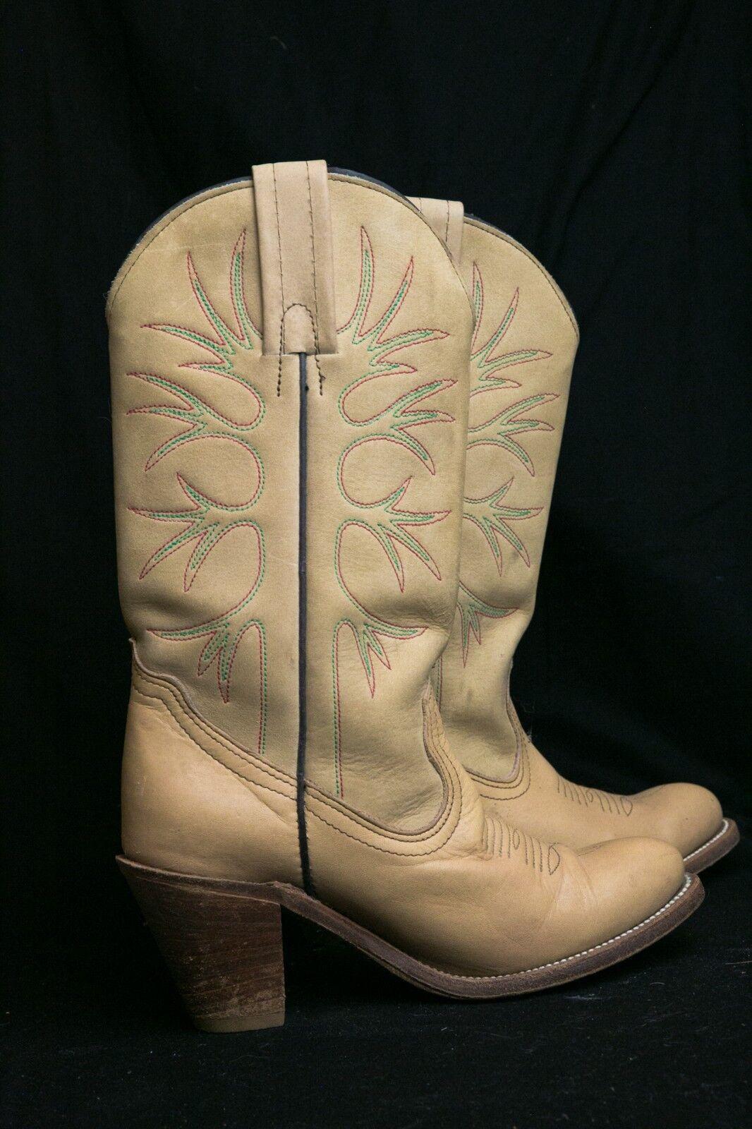 Frye Para mujeres Cuero Tostado Vintage occidental botas de vaquero, tamaño 7B