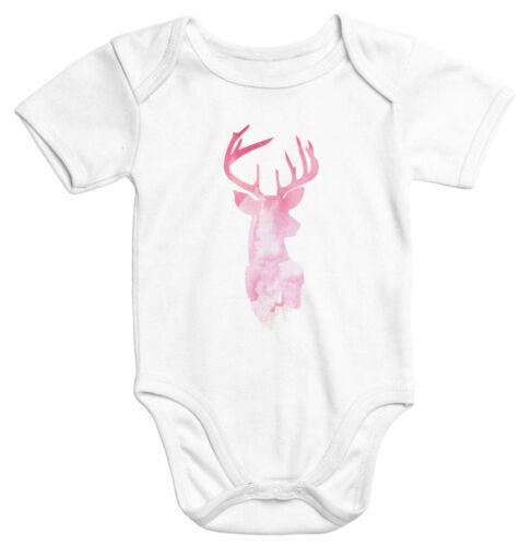 Baby-Body Hirsch Geweih Kopf Deer Watercolor kurzarm Bio-Baumwolle Moonworks®