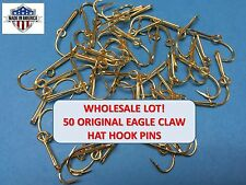 [50] EAGLE CLAW ORIGINAL GOLD-PLATED FISH HOOK HAT PIN/MONEY CLIP - WHOLESALE $$