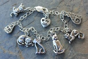 Image Is Loading Love My Cat Charm Bracelet Sterling Silver Chain