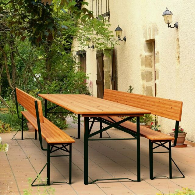 Amazing Outdoor Folding Trestle Table Bench Set With Backrest Wooden Garden Furniture Pabps2019 Chair Design Images Pabps2019Com