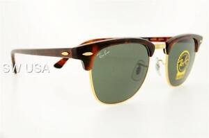 d810abe3ea RAY-BAN CLUBMASTER RB 3016 W0366 49MM TORTOISE GOLD CRYSTAL GREEN ...