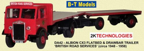 B-T modelli da42 Albion cx3 Piatto /& Rimorchio A Timone BRS 1//76 scala//OO Gauge-t48