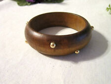 AVON BROWN GOLD STUDDED WOOD BANGLE BRACELET-8""