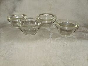 Vintage 1940s 50s Glasbake 4 Custard Cups 285 Made In Usa