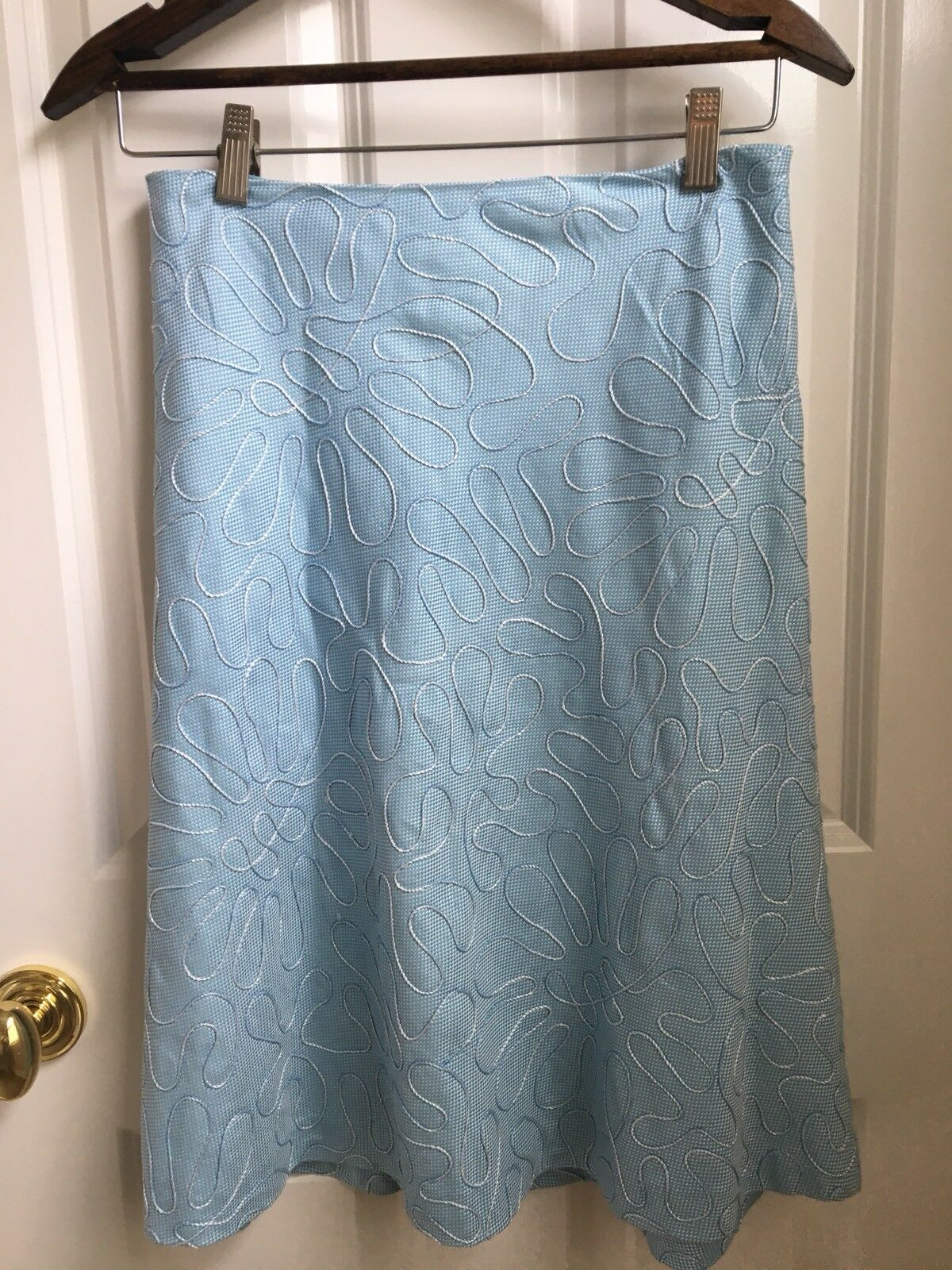 J. Mclaughlin bluee White with cord embellishment A-line  Skirt Size 4