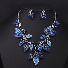 Blue Leaves Vine Rhinestone Statement Necklace Drop Earring Jewelry Set Gift