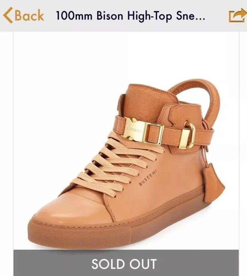 SOLD OUT RETAILS 950+TAX BUSCEMI PEANUT/TAN HIGH TOP SNEAKERS 11 (44)