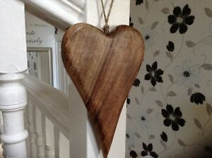 Details About Large Rustic Chunky Wooden Hanging Heart Natural Wood Grain 20 X 15cm