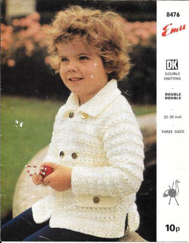 "Emu 8476 Vintage Knitting Pattern Boys Jacket DK or Chunky yarn 22-26/"""
