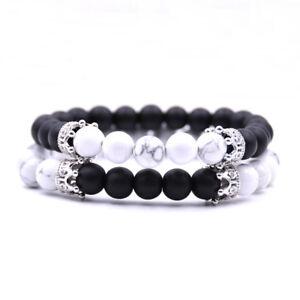 Fashion Jewelry 2 Pcs//Set Charm Natural Couple Bracelet  Lover Gift Beaded Stone