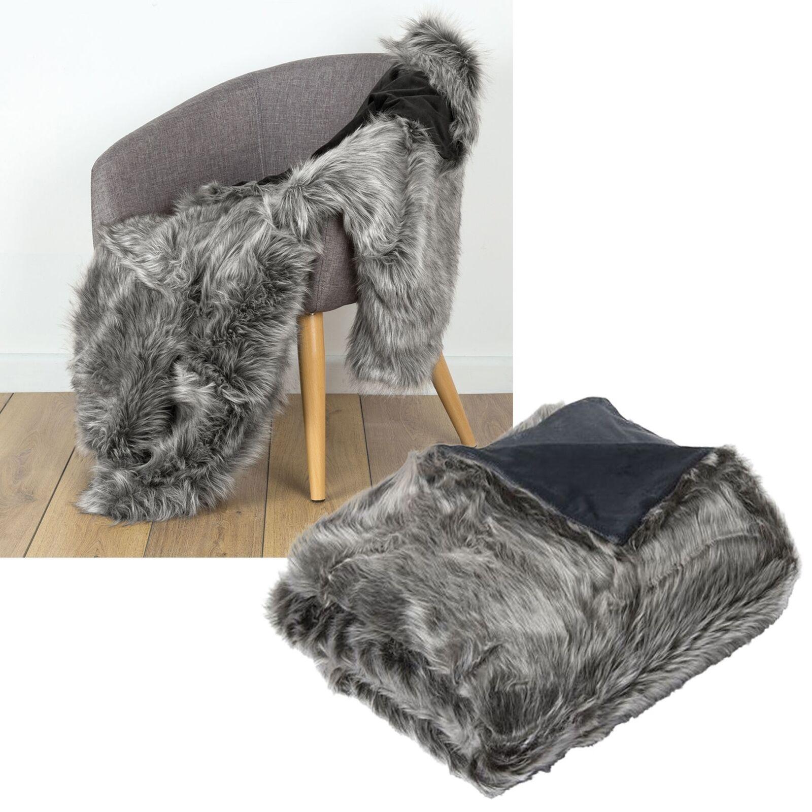 De Lujo Suave Imitación piel de visón Wolf Cama Sofá Lounge Manta Runner 125x150cm
