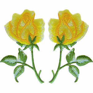 Pair-of-Yellow-Rose-Flower-Patches-Embroidered-Iron-On-Sew-On-Roses-Patch-Badge