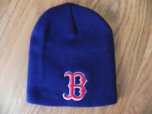BOSTON-RED-SOX-NAVY-UNCUFFED-MLB-VINTAGE-KNIT-RETRO-BEANIE-CAP-HAT-NEW