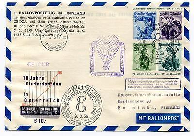 1959 Ballonpost N° 1 In Finlandia Pro Juventute 10 Jahre Kinderdorfidee Helsinki Structurele Handicaps