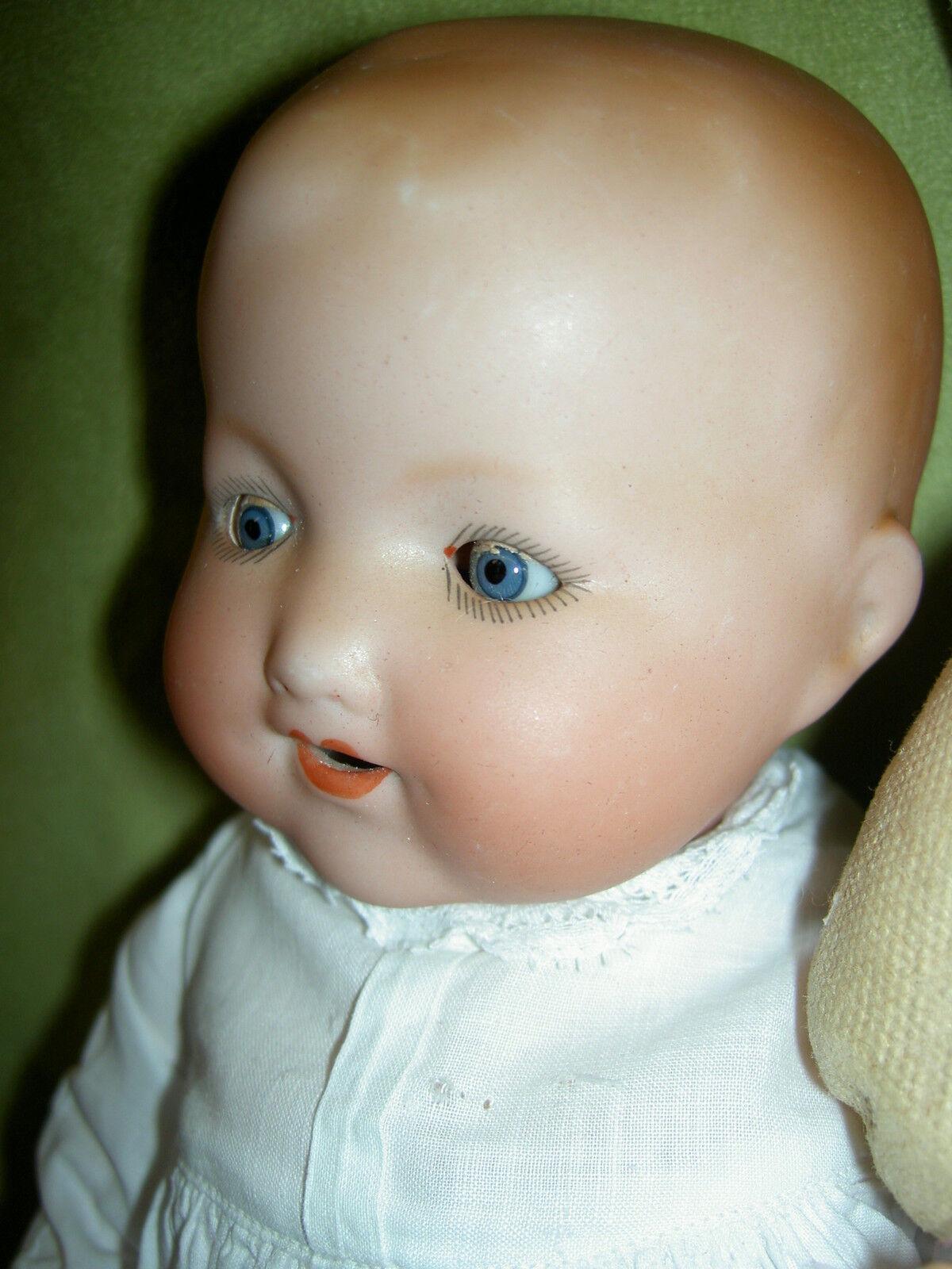 Sweet alemán  Antiguas Bisque A. Marseille nuestra mascota pelo rizado moldeado de bebé muñeca