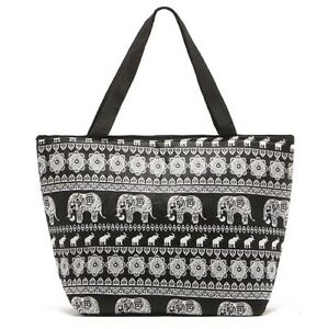 4acef050cd2e Details about Handy Light weight Elephant Design Tote Thermal Lunch Bag