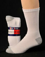 12 Pair Men's American Made Brand Athletic Crew Socks With Gray Heel & Toe 10-13