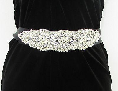 Schwarz Silberkette Strass Gürtel 1920s Flapper Kostüm Great Gatsby Vtg 1820