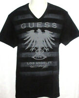 Mens Guess V-neck Black T-shirt Size Xl