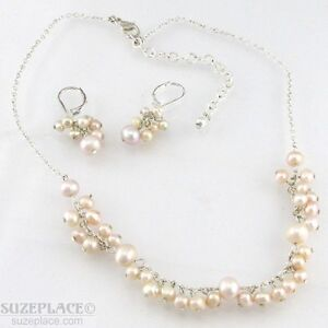 FRESHWATER-PEARL-NECKLACE-amp-EARRING-SET-SILVER-TONE