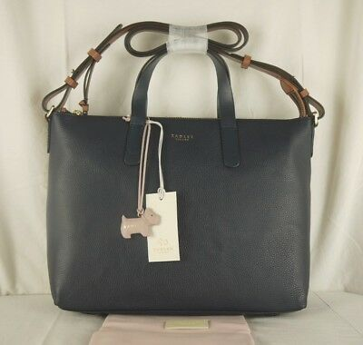 Radley Guildhall Navy Blue Leather Multiway Across Cross Body or Grab Bag  Large  99e773f9f6f2b