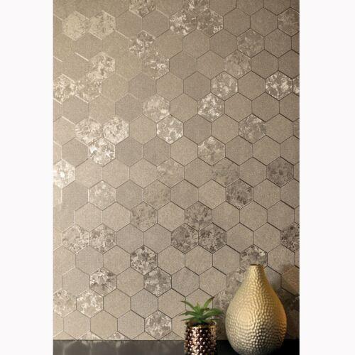Fondo de pantalla de panal de aluminio geométrica Metálico-Arthouse Champagne Dorado 294701