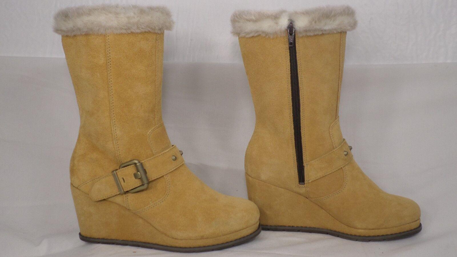 CAT Footwear 'Sway' Tan Suede Mid-Calf Wedge Winter Boot Women Size 7 M