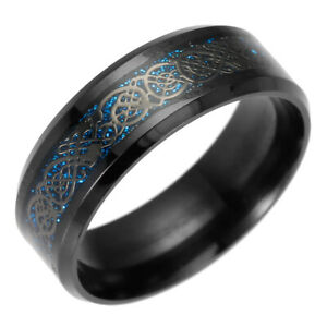 Vintage-Black-8mm-Band-Celtic-Dragon-Tungsten-Carbide-Ring-Men-039-s-Jewelry-5-13