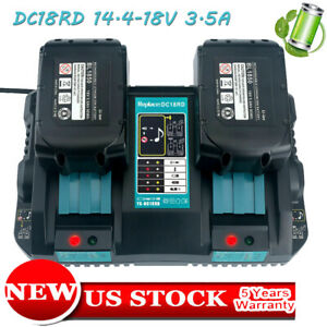 For-MAKITA-DC18RD-14-4V-18V-Dual-Port-Rapid-Li-ion-Charger-BL1850-Bl1840-Bl1830