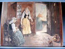 Belle Lithographie, Eau Forte du XIXe siècle. Scène d'intérieur, Jeune Bretonne